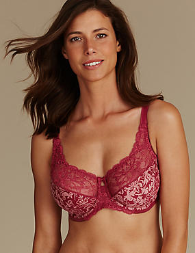 Floral Jacquard Lace Non-Padded Full Cup Bra DD-H, , catlanding