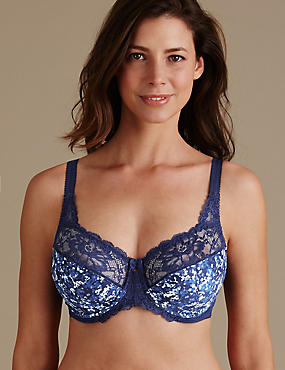 Jacquard Print Underwired Non Padded Full Cup Bra A-H
