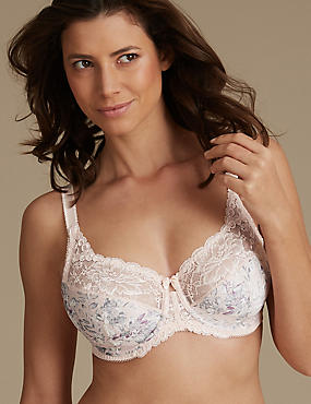 Floral Jacquard Lace Non-Padded Full Cup Bra DD-H, APRICOT, catlanding