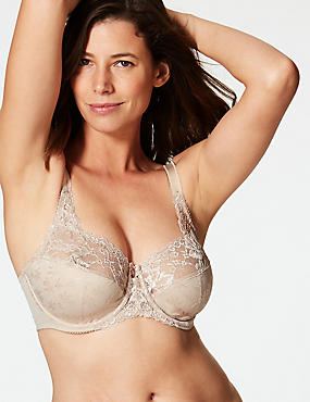 Floral Jacquard Lace Non-Padded Full Cup Bra DD-H, ALMOND, catlanding