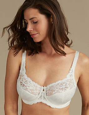 Floral Jacquard Lace Non-Padded Full Cup Bra DD-H, CREAM, catlanding