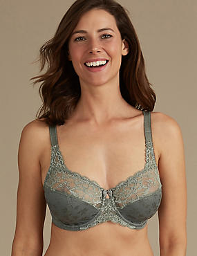 Floral Jacquard Lace Non-Padded Full Cup Bra DD-H, KHAKI, catlanding