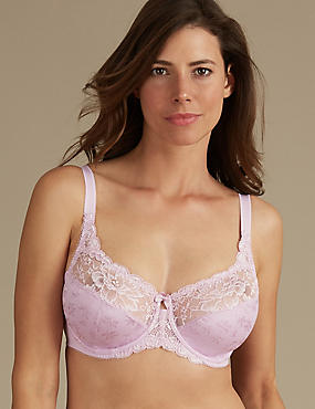 Floral Jacquard Lace Non-Padded Full Cup Bra DD-H, DUSTED PINK, catlanding