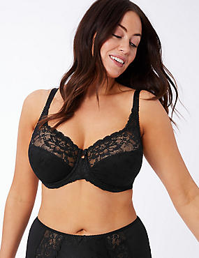Floral Jacquard Lace Non-Padded Full Cup Bra DD-H, BLACK, catlanding