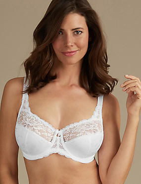 Floral Jacquard Lace Non-Padded Full Cup Bra DD-H, WHITE, catlanding