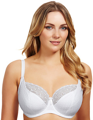 Textured Geometric Embroidered Underwired Balcony DD-G Bra Clothing