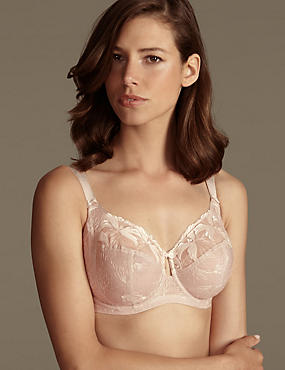Underwired Maximum Support Hibiscus Embroidered Full Cup Bra