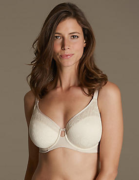Youthful Lift™ Lace Non-Padded Full Cup Bra DD-H, ALMOND MIX, catlanding