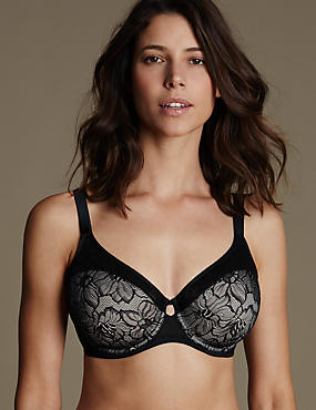 Youthful Lift™ Lace Non-Padded Full Cup Bra DD-H, BLACK MIX, catlanding