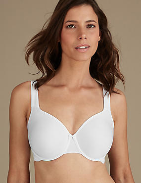 Lace Smoothing Non-Padded Full Cup Bra DD-GG, WHITE, catlanding