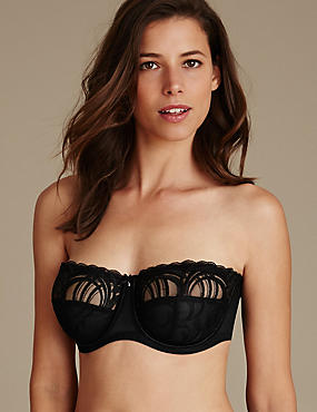 Luxury Embroidered Non-Padded Strapless Bra DD-G