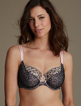 Embroidered Non Padded Underwired Balcony Bra DD-G