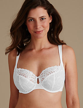 Luxury Embroidered Non-Padded Wired Full Cup Bra DD-H
