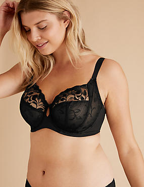 Olivia Embroidered Non-Padded Full Cup Bra DD-H , BLACK, catlanding