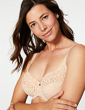 Vintage Lace Non-Padded Full Cup Bra DD-H, ALMOND, catlanding