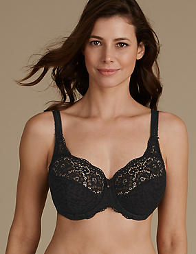 Vintage Lace Non-Padded Full Cup Bra DD-H, BLACK, catlanding