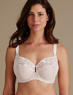 Embroidered Non-Padded Full Cup Bra DD-H, ALMOND, catlanding