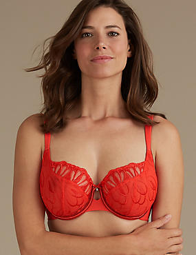 Embroidered Non-Padded Balcony Bra DD-H, FLAME, catlanding