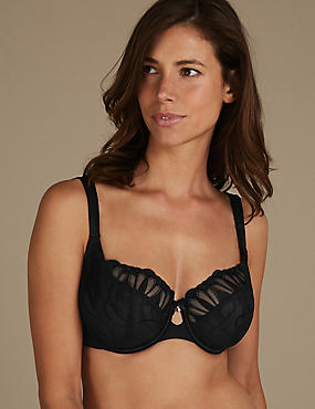 Embroidered Non-Padded Balcony Bra DD-H, BLACK, catlanding