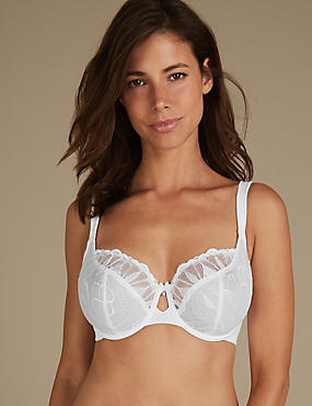 Embroidered Non-Padded Balcony Bra DD-H, WHITE, catlanding