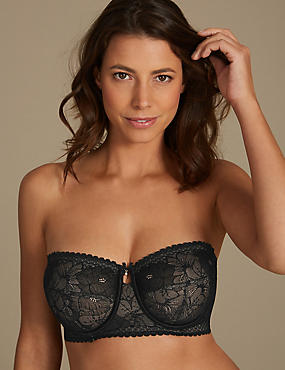Lace Non-Padded Longline Strapless Bra DD-G