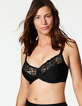 Floral Jacquard Lace Underwired Minimiser Bra C-GG