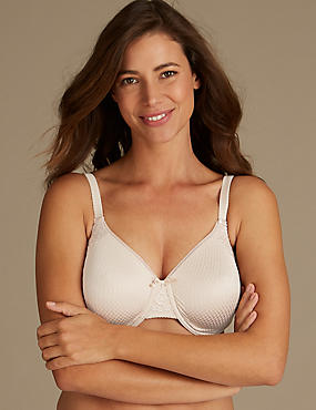 Smoothing Lace Non-Padded Full Cup Bra C-G, ALMOND, catlanding