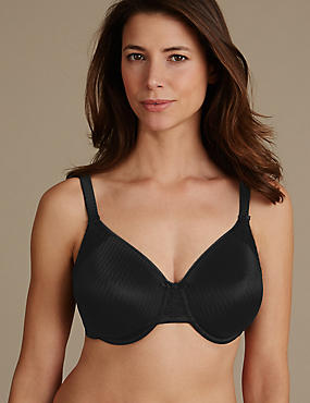 Smoothing Minimiser Non-Padded Full Cup Bra C-G, BLACK, catlanding