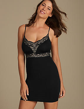 Light Control Lace Shaping Slip , BLACK, catlanding