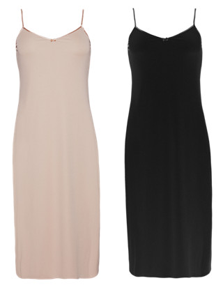 2 Pack V-Neck Assorted Full Slips Clothing