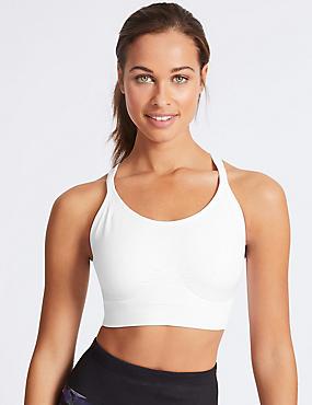 Medium Impact Non-Padded Sports Bra, WHITE, catlanding