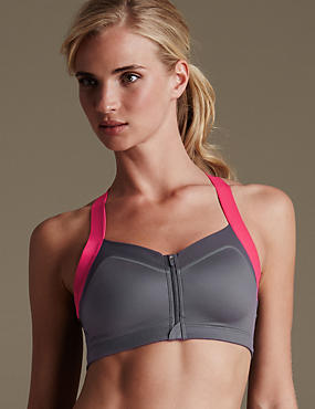 Sumptuously Soft High Impact Zip Front Padded Sports Bra B-E