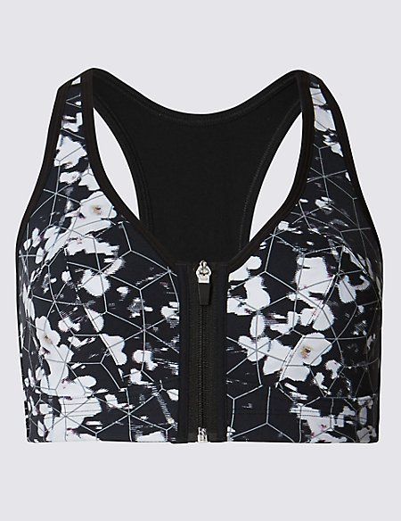 Extra High Impact Zip Front Non-Wired Sports Bra A-G