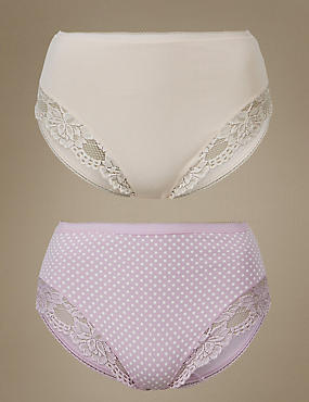 2 Pack Cotton Rich Lace Trim High Leg Knickers