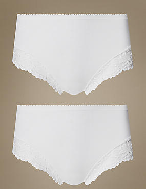 2 Pack Light Control Cotton Rich High Leg Knickers