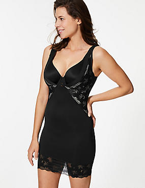 Firm Control Smoothing Lace Full slip, BLACK, catlanding