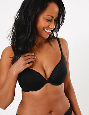 Perfect Fit Padded Push-Up Bra AA-E, BLACK, catlanding