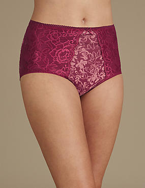 2 Pack Firm Control Lace Full Brief Knickers