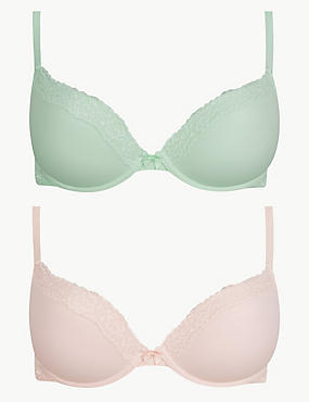 2 Pack Lace Padded Push-up Bras A-E, , catlanding