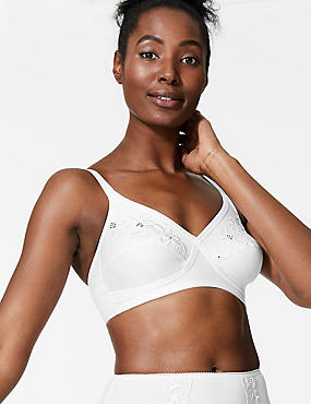Floral Embroidered Crossover Non-Wired Full Cup Bra A-E, WHITE, catlanding