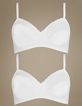 2 Pack Lace Non-Padded Full Cup Bras A-DD, WHITE/WHITE, catlanding