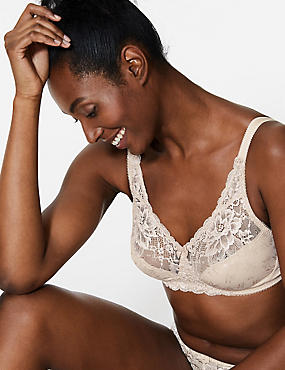 Jacquard Lace Non-Padded Full Cup Bra A-DD, ALMOND, catlanding