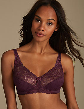 Floral Jacquard Lace Set with Non-Wired Full Cup AA-DD