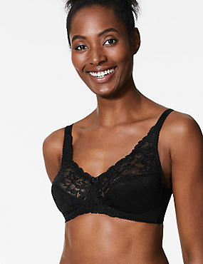 Jacquard Lace Non-Padded Full Cup Bra A-DD, BLACK, catlanding