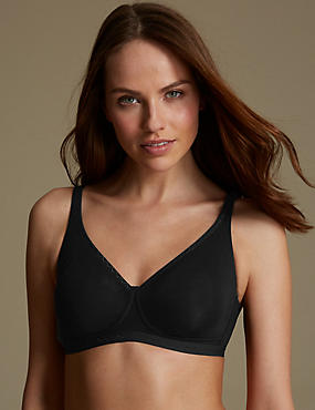 Cotton Rich Jacquard Trim Smoothing Non-Wired Full Cup Bra A-DD
