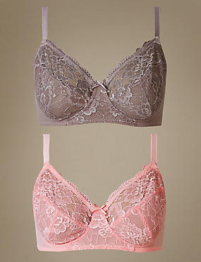 2 Pack Isabella Lace Full Cup Bra A-DD
