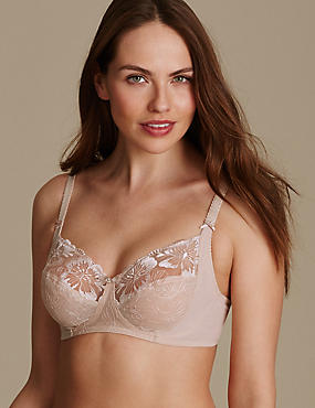 Embroidered Non Padded Full Cup Bra B-E
