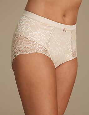 Louisa Lace Firm Control Full Briefs, ALMOND, catlanding