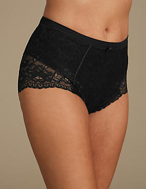 Louisa Lace Firm Control Full Briefs, BLACK MIX, catlanding