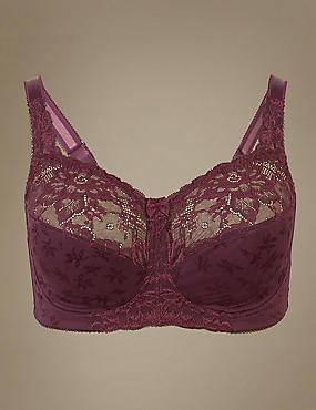 Total Support Non-Padded Full Cup Bra B-G, BLACKCURRANT, catlanding